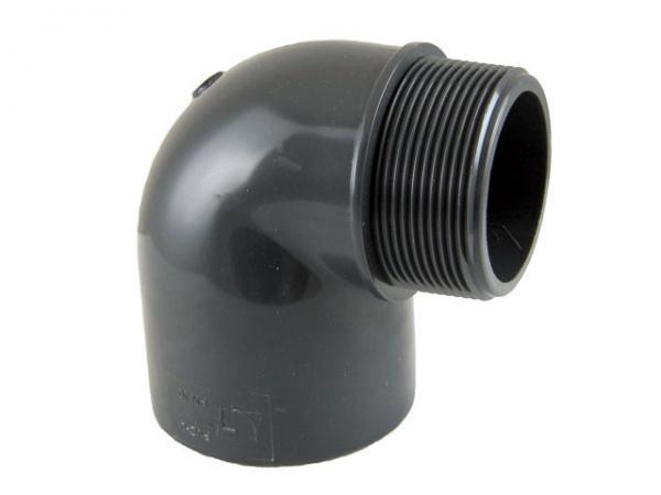 PVC-U Winkel 90° mit Klebemuffe und Außengewinde