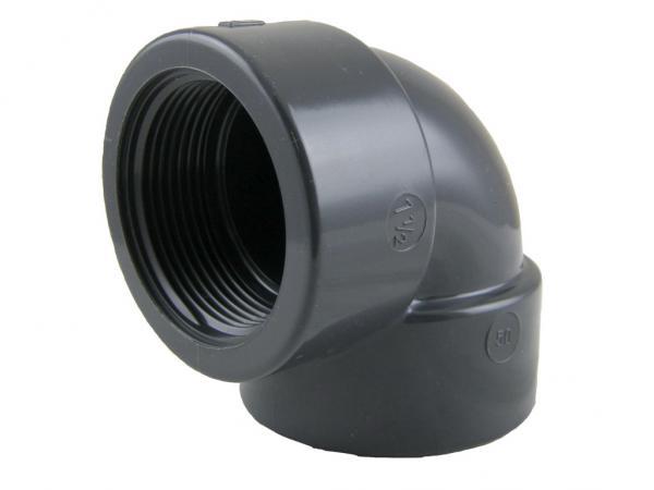 PVC-U Winkel 90° mit Klebemuffe und Innengewinde