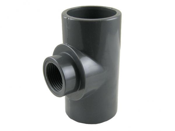 PVC-U T-Stück 90° mit Klebemuffen und Innengewinde