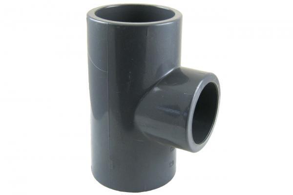 PVC-U T-Stück 90° reduziert mit Klebemuffen
