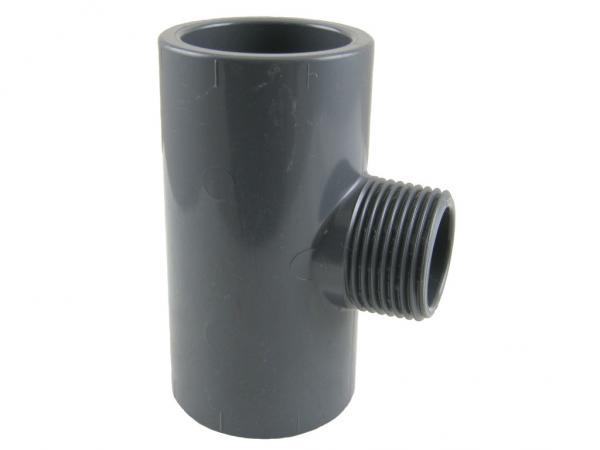 PVC-U T-Stück 90° mit Klebemuffen und Außengewinde